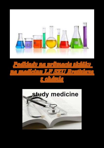 Podklady na príjmacie skúšky na medícinu LF SZU Bratislava  z chémie